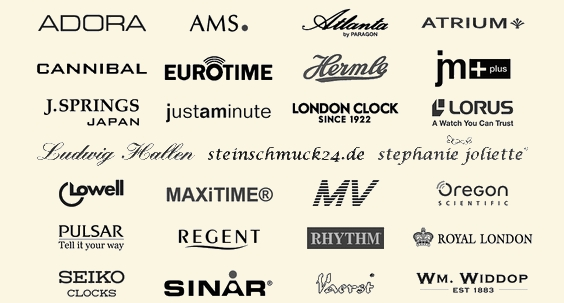 Adora, AMS, Atlanta by Paragon, Atrium, Cannibal, Eurotime, Hermle, JM +Plus, JM Plus, J. Springs Japan, just a minute, London Clock since 1922, Lorus, Lowell, Maxitime, MV Marschall Versand, Oregon Scientific, Pulsar, Regent, Rhythm, Royal London, Seiko Clocks, Sinar, Vaerst, Widdop Bingham, Wm. Widdop est 1883